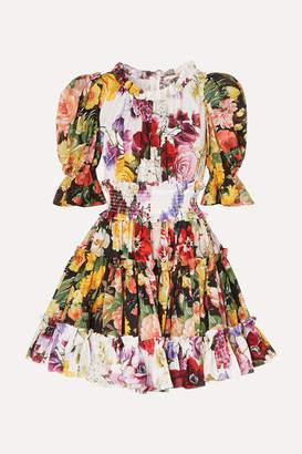 Dolce & Gabbana Ruffled Floral-print Cotton-poplin Mini Dress - White