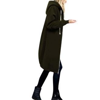 Pervobs Women Coat&Jacket Clearance Women Coat, Pervobs Women Loose Warm Zipper Open Hoodies Sweatshirt Solid Long Coat Jacket Tops Outwear(2XL, )