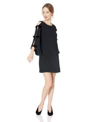 MSK Women's Petite Boat Neck Dress with Velvet Bow Sleeve Details