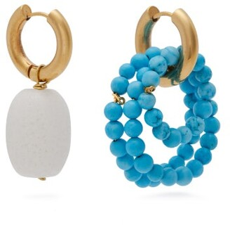 Timeless Pearly - Mismatched Bamboo Coral & Turquoise Stone Earrings - Womens - Blue