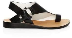 Rag & Bone Rag& Bone Rag& Bone Women's Arc Leather Stacked-Heel Toe Ring Sandals - Black - Size 41 (11)