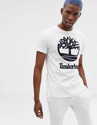 Timberland Large Stacked Logo T-Shirt Slim Fit in White