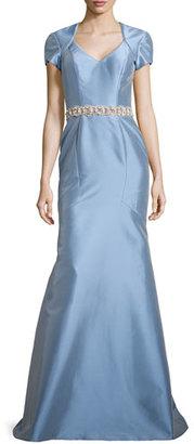 Theia Satin Gown w/ Beaded Waist, Powder $1,295 thestylecure.com