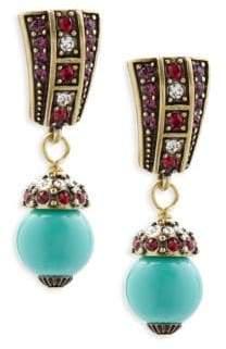 Heidi Daus Faux Pearl and Crystal Drop Earrings