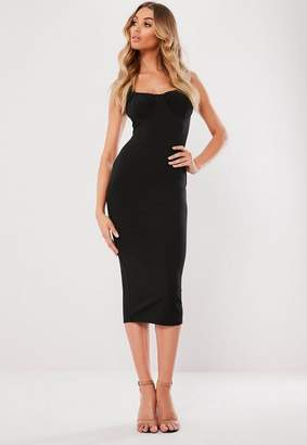 Missguided Black Ruched Cup Bodycon Midi Dress