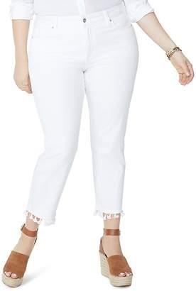NYDJ Plus Sheri Tassel-Trimmed Slim Ankle Jeans in Optic White - 100% Exclusive