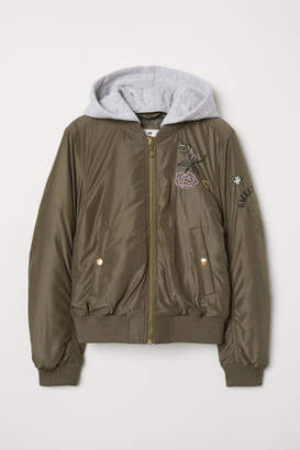 H&M Hooded Bomber Jacket - Green