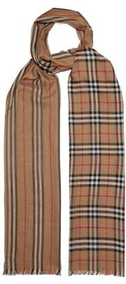 Burberry Check And Icon Stripe Wool And Silk Gauze Scarf - Womens - Beige Print