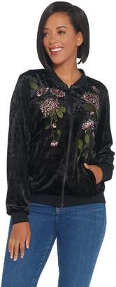 Belle By Kim Gravel Belle by Kim Gravel Embroidered Panne Velvet Bomber Jacket