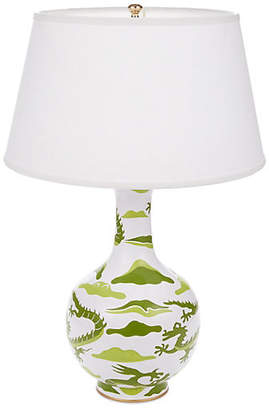 Dana Gibson Dragon Bottle Table Lamp - Green
