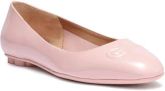 Salvatore Ferragamo Broni patent blush leather ballerinas