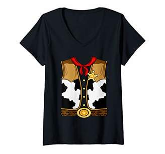 Womens Funny Western American Sheriff Horse Riding Easy Costume V-Neck T-Shirt