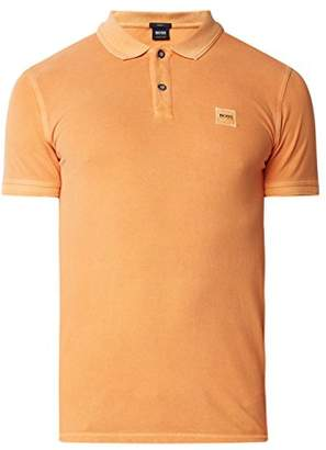 HUGO BOSS BOSS Orange Men's Short Sleeve Slim Fit Garment Dyed Chest Logo Patch Polo