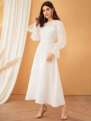 Shein Lace Yoke Mesh Overlay Sleeve Fit & Flare Dress