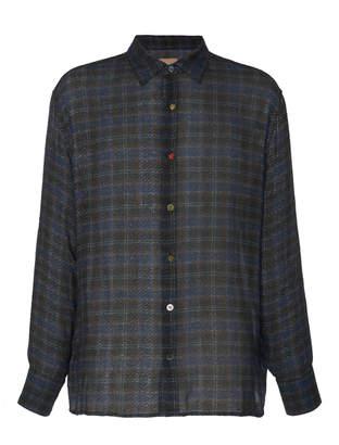 Federico Curradi Contrast-Button Plaid Flannel Shirt Size: 46