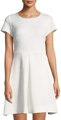 Taylor Short-Sleeve Textured Fit-&-Flare Dress
