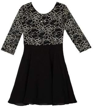 Amy Byer Gold Lace Long Sleeve Back Bow Dress (Big Girls)