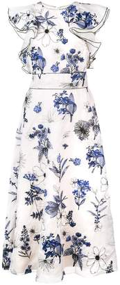 Lela Rose floral print ruffle dress