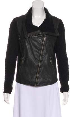 Doma Knit-Trimmed Leather Jacket