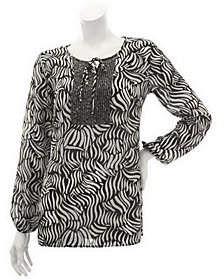 Susan Graver Crinkled Sheer Chiffon Blouse w/Pleat Detail