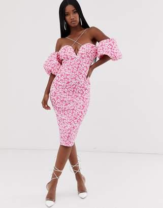 Bardot Asos Design ASOS DESIGN bubble sleeve strappy floral midi dress