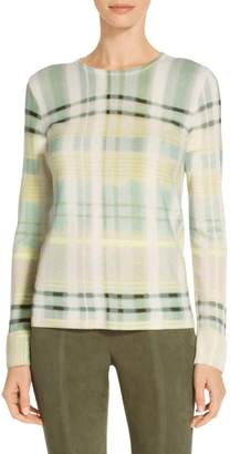 St. John Ombre Plaid Printed Cashmere Knit Sweater