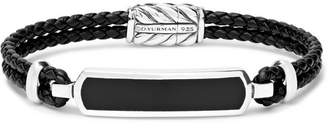 David Yurman Woven Leather, Sterling Silver And Onyx Bracelet