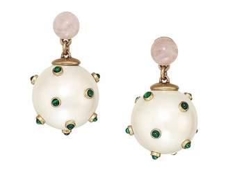 Tory Burch Studded Stone Pearl Drop Earrings