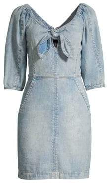 Rebecca Taylor Elbow-Length Denim Sheath Dress