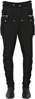 Balmain Cotton Jersey Cargo Pants W/ Bands