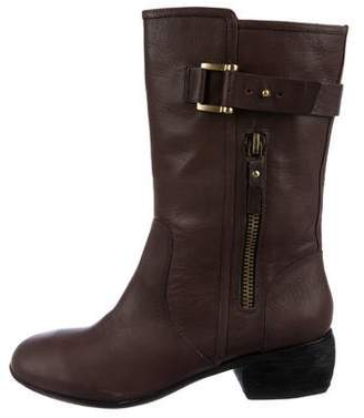 Modern Vintage Leather Mid-Calf Boots