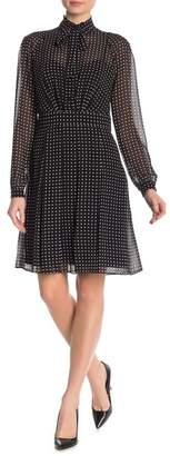 Anne Klein Georgette Tie Neck A-Line Dress