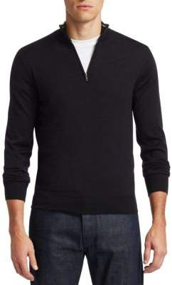 Saks Fifth Avenue COLLECTION Collar Stripe Quarter Zip Sweater