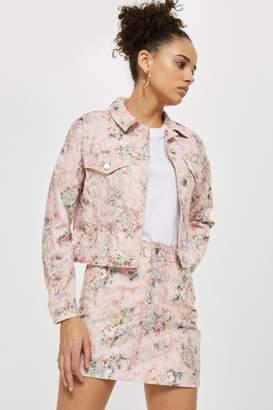 Topshop Floral Denim Skirt
