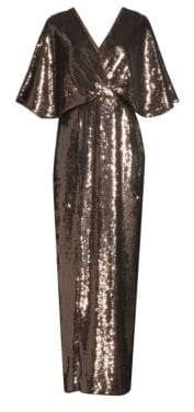 Aidan Mattox Three-Quarter Sleeve Blouson Sequin Gown