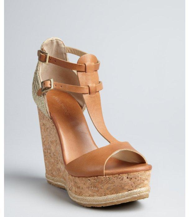 Jimmy Choo tan leather and gold lurex 'Preya' cork wedge sandals