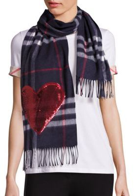 Burberry Burberry Sequined Heart Giant Check Cashmere Scarf