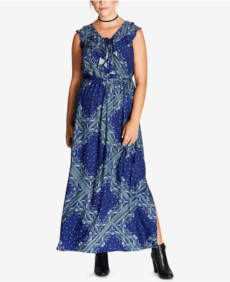 City Chic Trendy Plus Size Ruffled Maxi Dress $89 thestylecure.com