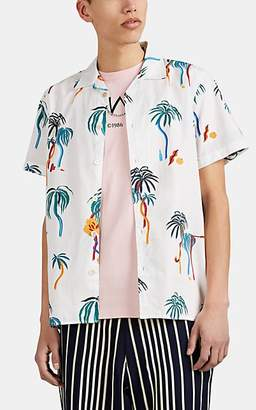 Paul Smith Men's Palm-Print Cotton Camp-Collar Shirt - White