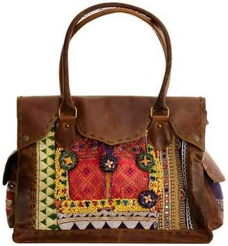 Vintage Addiction Leather & Vintage Fabric Large Bag