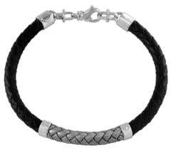 Effy Sterling Silver and Leather Braided Bracelet