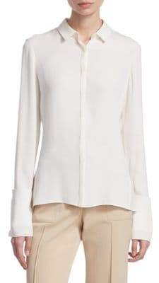 Akris Women's Cuffed Silk Blouse - Paper - Size 8