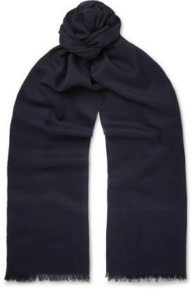 Tom Ford Fringed Cashmere and Silk-Blend Scarf - Men - Navy