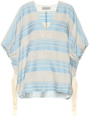 Lee Mathews Tilda striped linen and cotton top
