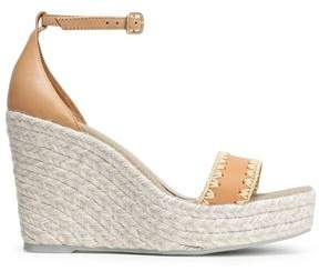Manebi Embroidered Leather Espadrille Wedge Sandals