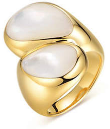 Mother of Pearl PIARA White Mother-of-Pearl Bypass Ring