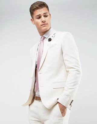 Farah Smart Skinny Wedding Suit Jacket In Linen