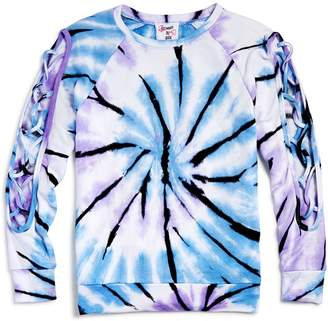 Flowers by Zoe Girls' Lace-Up Sleeve Tie-Dye Sweatshirt