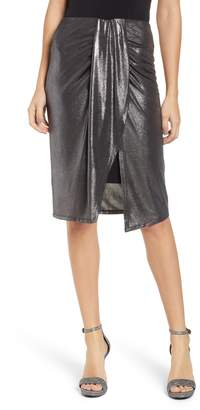 Leith Knot Front Metallic Midi Skirt