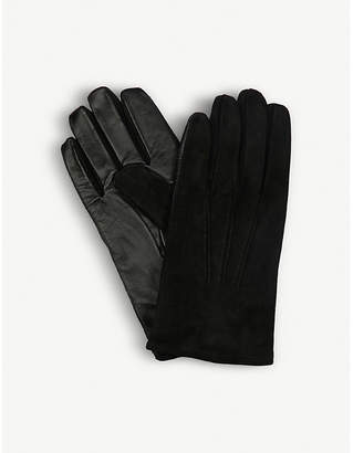 Eleventy Leather and suede gloves